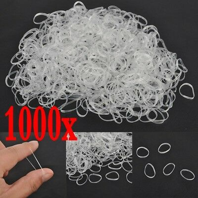 1000pcs Clear Ponytail Holder Elastic Rubber Band Hair Ties Ropes Rings