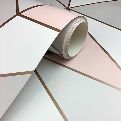 Apex Geometric Wallpaper Rose Gold / Pink - Fine Decor Fd41993 Heavyweight