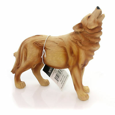 Animal HOWLING WOLF WOODLIKE Polyresin Animal Carving Mme932