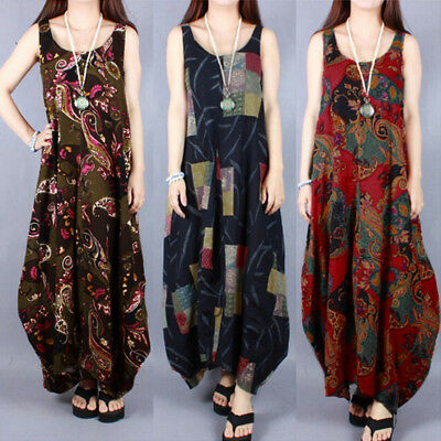 ff3b70d8f3d2 Loose Retro Long Dress Random Floral Printed Sleeveless Baggy Kaftan  Vestidos