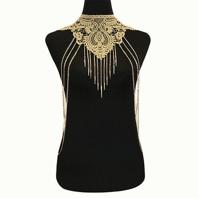 Lace Body chain Women Flower Collar Choker Gold Body Chain Hollow Necklace Party