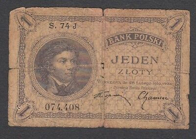 1 Zloty From Poland 1919 A1