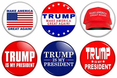 "DONALD TRUMP PRO SUPPORT 25mm 1"" Pin Badge MAKE AMERICA GREAT AGAIN"