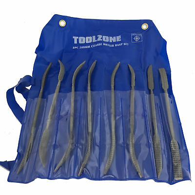 Toolzone 8Pc Riffler Wood Rasp Double Ended Coarse Rifler Files Set 200mm +Pouch