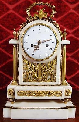 Antique 19thc French gt ormolu bronze & White Carrera Marble Mantle Clock & base