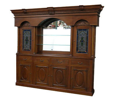 9.5Ft Vintage Mahogany Home Pub Bar Back w/ Stained Glass