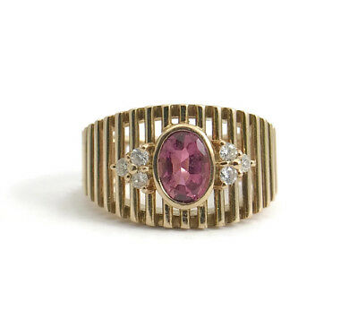 Vintage Pink Oval Gemstone and Diamond Cocktail Ring, 14K Yellow Gold, 6.4 Grams