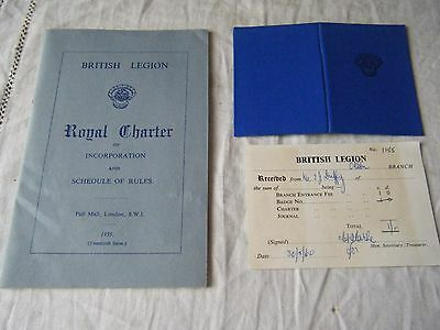 British Legion Membership Card, Reciept For Entrance Fee & Rules Book, 1960