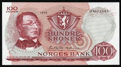 100 Kroner From Norway 1975 M Unc