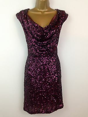 2cb398434ee French Connection Dress UK Size 8 Purple Sequin Mini Pencil Shift Party  Holiday