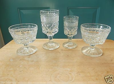 Two Anchor Hocking Wexford Clear Glass Sherbets; One Wine Glass and One Claret