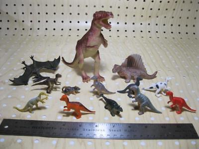 "TOY Animal Lot of 13 Prehistoric DINOSAURS CREATURES 2-5"" pvc plastic-unmarked"