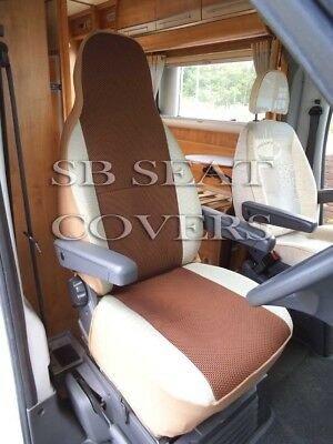 i-TO FIT PEUGEOT BOXER 2012 MOTORHOME SEAT COVERS, BROWN SPORTS MESH, MH-405
