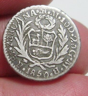 "1850 MB (PERU) 1/2 REAL (SILVER) ""ATHENE"" ---nice coin---"
