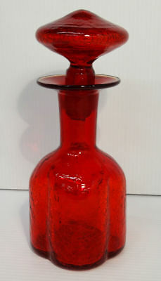 Mid Century Modern Ruby Red Crackle Glass Liquor Decanter Rounded Sides -Estate!