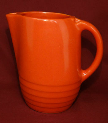 1940's Universal Potteries Ohio ATOMIC ORANGE Water Pitcher Mid Century ModERn