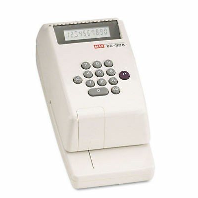 MAX Electronic Checkwriter, 10-Digit, 4-3/8 X 9-1/8 X 3-3/4 EC30A NEW