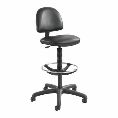 Safco 3406BL Extended-Height Vinyl Swivel Chair Stool with Footring, Black New