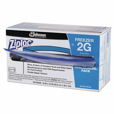 SC Johnson Commercial Resealable Freezer Bag, Zipper, 2gal, 13 X 15 1/2, Clear,