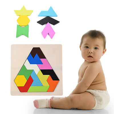 Wooden Wood Tangram DIY Brain Teaser Jigsaw Puzzle Baby Kid Intelligent Game Toy