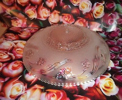 VINTAGE  1940's  Ceiling Light  Fixture Glass Shade globe Chandelier