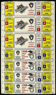 "1988 Milwaukee Brewers Phantom ALCS World Series 7-Ticket Sheet 7"" x 12"""