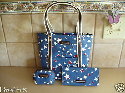 Longaberger American Starburst Tote, Checkbook Cover & Coin Purse Nip Free Ship