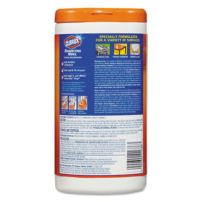 Clorox Disinfecting Wipes Orange Fusion 7x8 75/canister 6/ctn 01686CT NEW