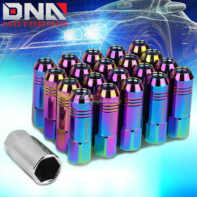 20Pc 60Mm Neo Chrome Aluminum 20Mm Od M12X1.5 Conical Open-End Lug Nuts+Adapter