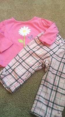 Gymboree 6 12 Months Girls Plaid Pants Long Sleeve Flower Top Set Outfit