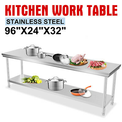 """24"""" x 96"""" Stainless Steel Work Prep Table Commercial Kitchen Restaurant Food New"""