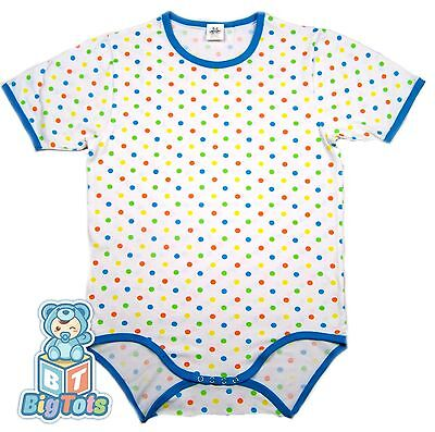 BIG TOTS  POLKA DOTS adult size bodysuit baby fabric