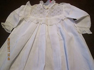 Antique Childrens/baby Long White Christening Dress/gown Trimmed In Lace