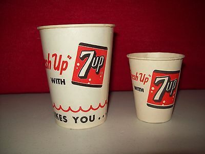 2 Vintage  7-UP FRESH UP CUPS unused new old stock in exc.condition