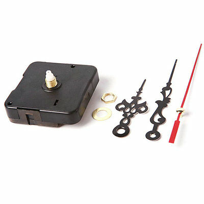 DIY Quartz Movement Mechanism Clock Black and Red Hands Part Kit Tool New