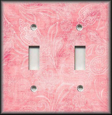 Light Switch Plate Cover - Vintage Gypsy Floral Light Pink - Boho Home Decor