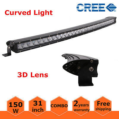 """31"""" 150W LED Curved Slim Single Row Light Bar Offroad Lamp 4WD UTE Ford 3D Lens"""