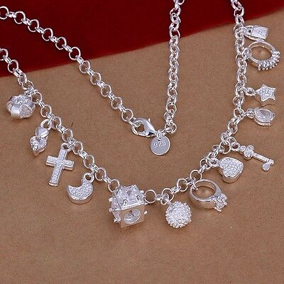 925 Sterling Silver plated women Fashion wedding Charms pendant Necklace Jewelry