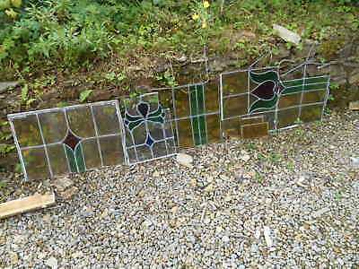 Antique Art Nouveau Stained Glass LEADED WINDOW Pieces for Window Restoration