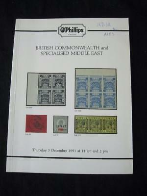 Phillips Auction Catalogue 1991 British Commonwealth & Specialised Middle East