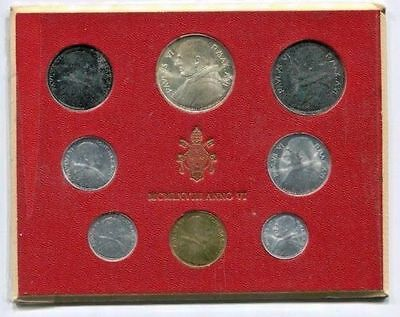 1968 Vatican POPE PAUL VI silver mint set coins in official red cardboard