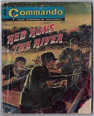 """Dated 1961. Vintage COMMANDO War Picture Comic # 8. """"Red Runs the River"""""""