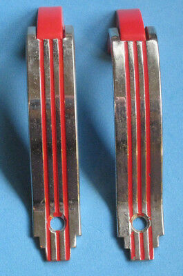 Vintage CHROME Hoosier Cabinet Door Pulls RED Lines & Plastic End Trim Amerock