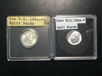 TWO BEAUTIFUL SILVER DIMES = 1941 & 1958 both with FULL SPLIT BANDS & low ship