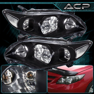 Black Housing Clear Lens Reflector Headlight Lamp For 11 12 13 Toyota Corolla