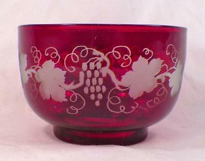 Bohemian Art Glass Bowl Ruby Stained Grapes Leaves Scrolls Antique Frosted Czech