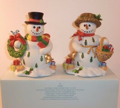 Partylite Snowbell Taper Holder Pair P7649 Candle Holders Christmas Snowmen