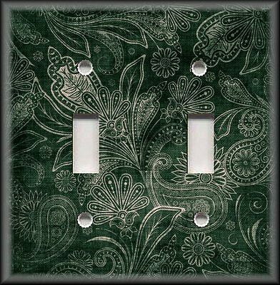 Light Switch Plate Cover - Vintage Gypsy Floral Dark Green - Boho Home Decor