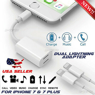 Dual Lightning Splitter Adapter Double Headphone Audio Charge for iPhone 7 7plus