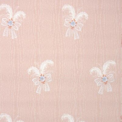 1940s Vintage Wallpaper Floral Wallpaper with Blue Flowers White Bows on Pink